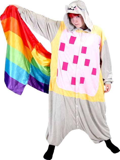 meme space nyan cat rainbow tail costume hooded kigurumi