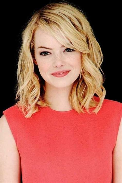 how to get emma stone short hair cutting steps shoulder length layered bob with bangs bob hairstyles
