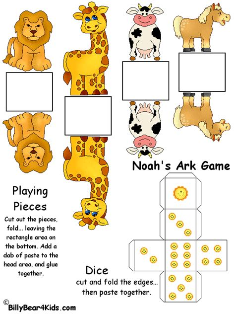 printable animal game pieces noah s ark game billybear4kids com