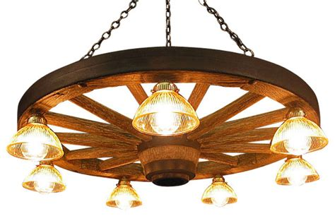 Koch Cabinet Large Wagon Wheel Chandelier With Down Lights Rustic