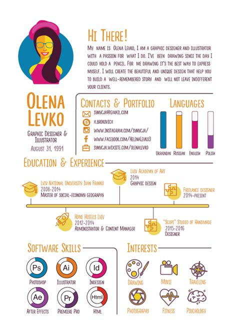 infographic cv template free free infographic resume template on behance