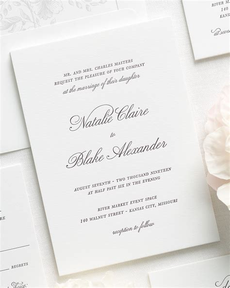 Classic Wedding Stationery by Classic Script Letterpress Wedding Invitations