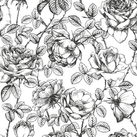 floral pattern hand drawing black and white floral wallpaper anewall com anewall