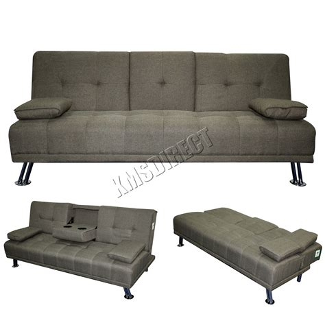 Sofa Bed With Recliner Foxhunter Fabric Manhattan Sofa Bed Recliner 3 Seater Modern Luxury Design Grey Ebay