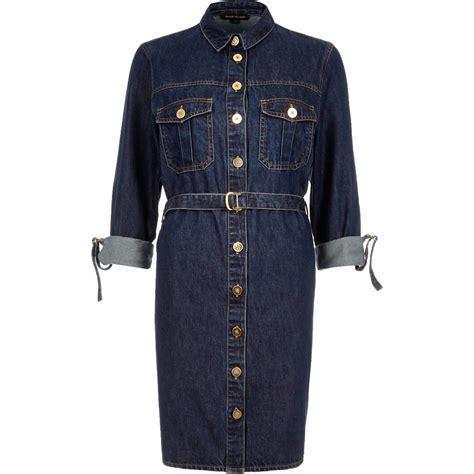 river island denim belted shirt dress in blue lyst