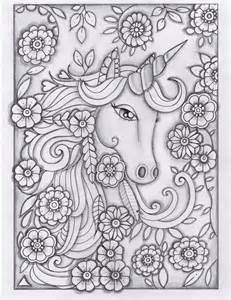 unicorn greyscale drawing unedited coloring pages