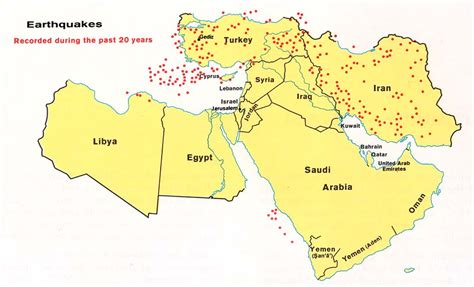 middle east earthquake map bližnji vzhod