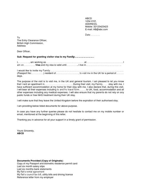 Bank Letter For Visa Sponsorship Doc 7681024 Uk Visitor Visa Sle Sponsor Letter Bizdoska
