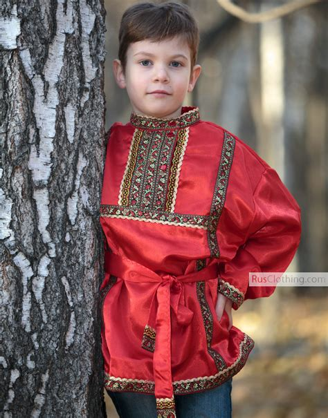 silk russian shirt boy traditional clothing russia historical