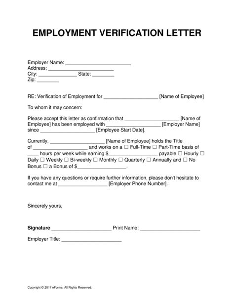 employment verification letter template word business