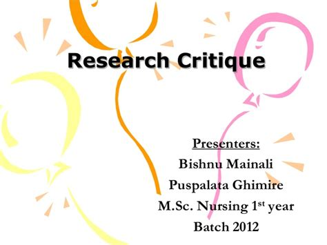 Critique Research Paper Powerpoint Presentation by Research Critique Exle Rmt 1