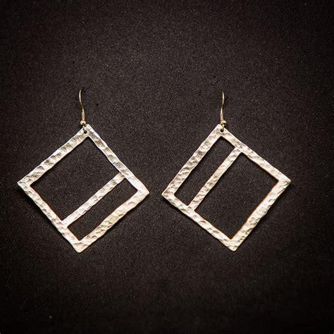 Geometric Earrings geometric hammered handmade wide square earrings