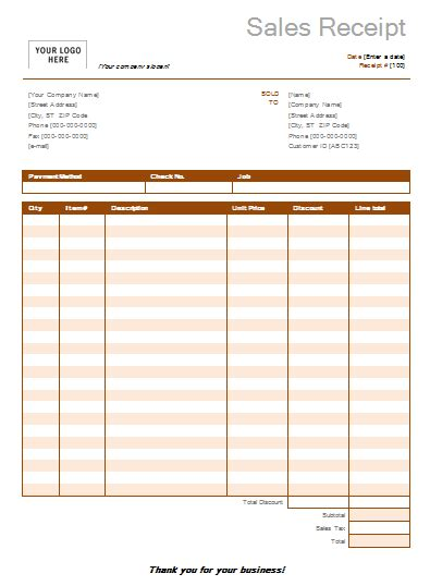 general sales receipt template 7 free sales receipt templates word excel formats