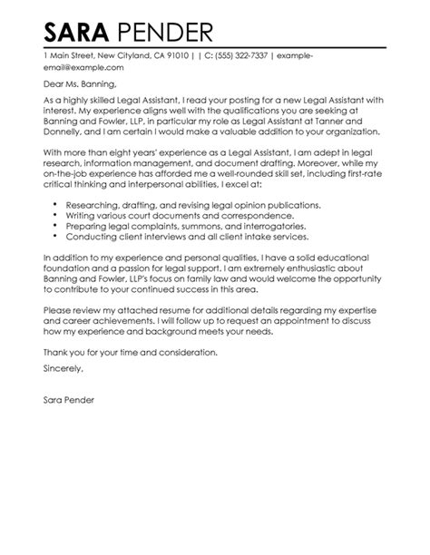 legal assistant cover letter examples livecareer