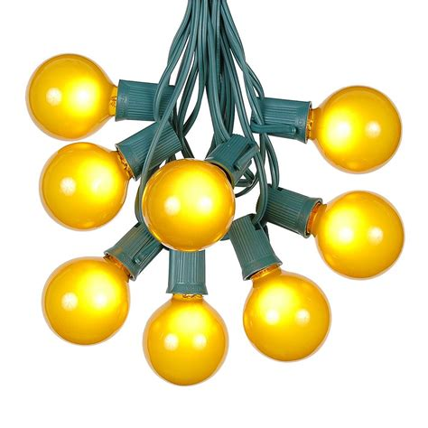 100 Yellow G50 Globe String Light Set On Green Wire Yellow String Lights