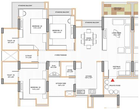 plan of 3 bedroom flat apollo db city