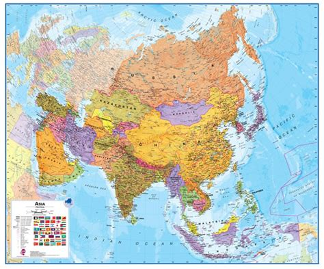 asia map political wall map of asia large laminated political map