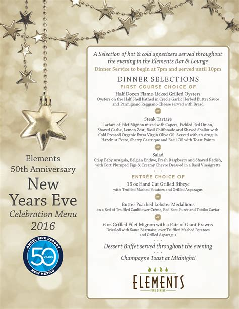 luckee new year menu new year s dinner at elements resort