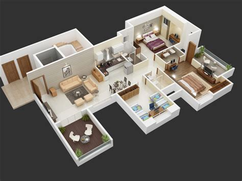 big 3 bedroom house 25 more 3 bedroom 3d floor plans