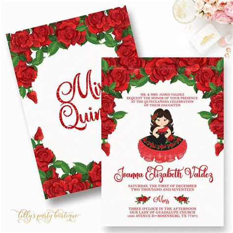 mexican themed quinceanera invitations quincea 241 era invitation red quince invite rose