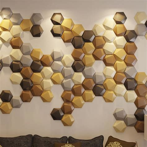 Peel And Stick Mosaic Tile Creative Leather Wall Small Tiles Hexagon Faux Leather