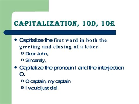 Closing Letter Capitalization Capitalization Overview