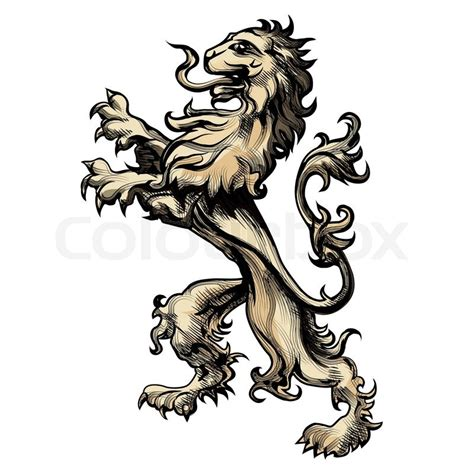 illustration of heraldry lion drawn in engraving style