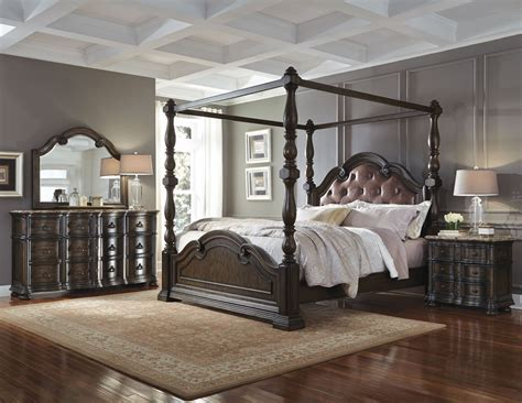 canopy bedroom furniture sets cortina canopy bedroom set 694150 694151 694152 694152