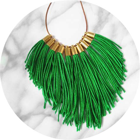 Melbourne Handmade Jewellery - tassel necklace fabulous fringe green unique
