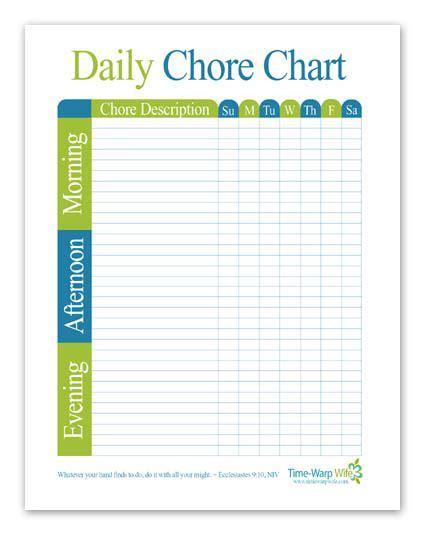 Free Printable Daily Chore Chart Gettin Organized Daily Chore Charts Chore Chart Kids Daily Chore Chart Template