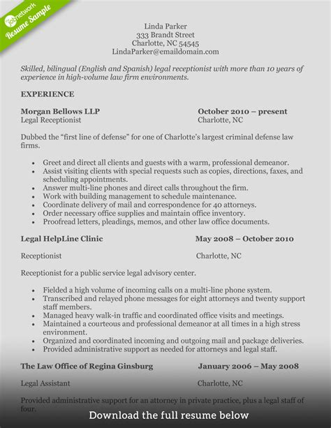 resume examples receptionist examples of resumes resume template for
