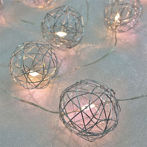 silver wire lights warm white led silver wire sphere string lights battery
