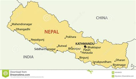 nepal map vector democratic republic of nepal map vector stock vector