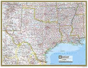 south central united states atlas wall map maps
