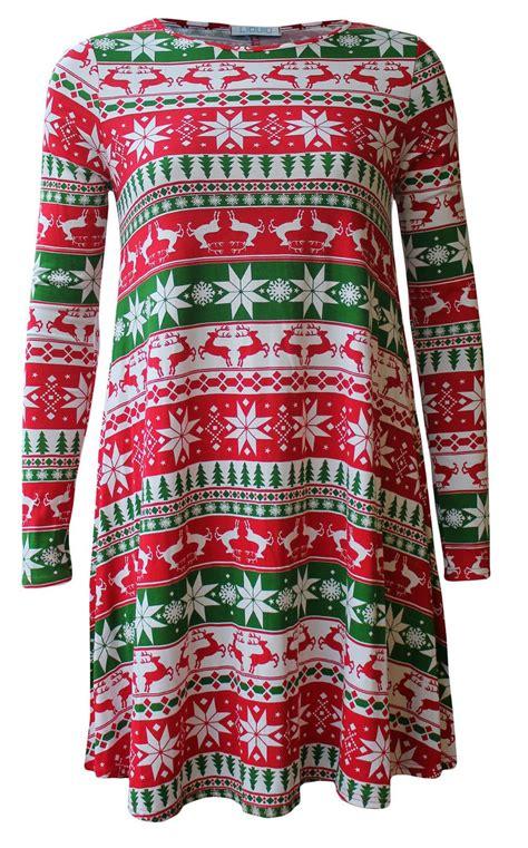 swing christmas new womens santa snowman reindeer flared swing christmas