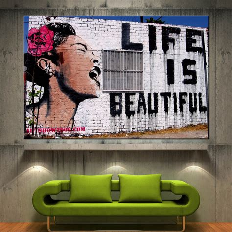 graffiti interiors home art murals and decor ideas banksy life is beautiful canvas print graffiti wall art