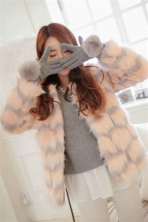 Bulu Korea Pink jaket bulu wanita korea pink stripped fur coat r65041