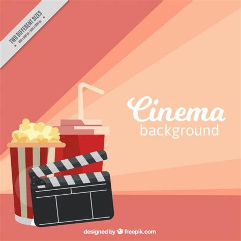 fondo cinema fondo de cine plano con claqueta y palomitas descargar vectores gratis