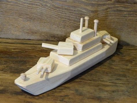 toy boat gun wood toy battleship ww2 wooden toys ship navy handmade eco