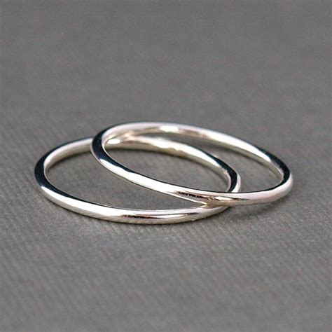 two plain silver rings simple silver ring bands sterling