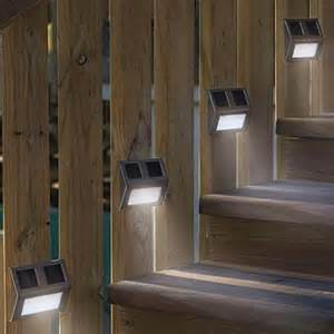 outdoor fence lighting 5 pcs solar powered led light path step stair light fence