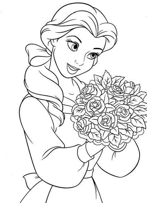 disney princesses belle coloring pages
