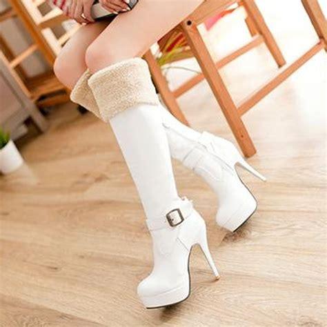 Heels fur boots winter camouflage rain boots high heels women s boots
