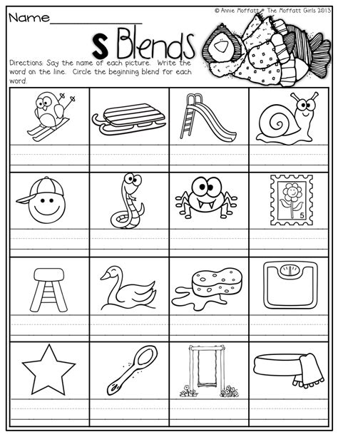 L Blends Coloring Pages by S Blends Word Work Phonics Kindergarten