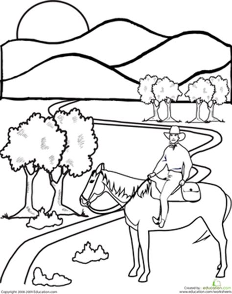 cowboy colors west worksheets and coloring pages education