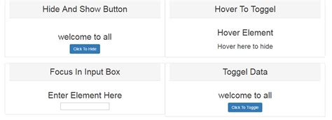 jquery toggle div simple exle of hide show and toggle element using