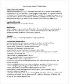 Office Assistant Description by Sle Office Assistant Description 8 Exles In Pdf Word