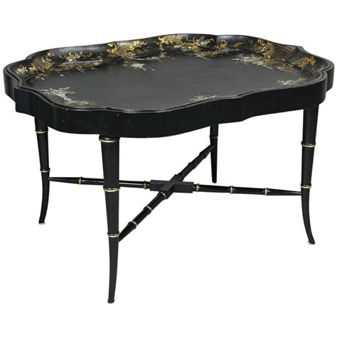 Of Pearl Table L by Papier Mache And Of Pearl Tray Table At