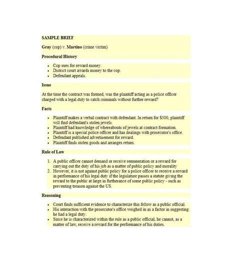 40 case brief exles templates template lab