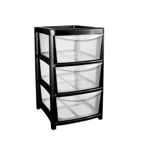 3 Drawer Plastic Storage Unit 91l Premier 3 Drawer Plastic Storage Tower Clear Black